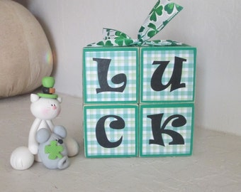 LUCK Wooden Stacked Blocks - St Patricks Day Holiday Decoration