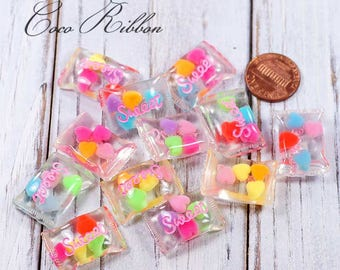 25mm 12~24pcs Mixed Fake Pastel Transparent Clear Sweet Jelly Candy Flatback Cabochons H10