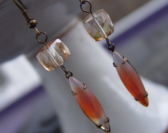 Vintage Jewel and Citrine Gemstone Earrings