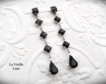 Long Dangle Rhinestone Earrings, Black Victorian Earrings, Jet Gothic Earrings, Long Jewel Earrings