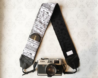 DSLR Minky Camera Strap, Padded with Lens Cap Pocket, Nikon, Canon, DSLR Photography, Photographer Gift, Bohemian - Tribal with Black