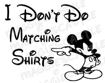 DIY Vinyl Iron On Mickey Mouse - I Don't Do Matching Shirts