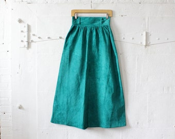 Teal Suede Skirt S • Tea Length Skirt • Teal Skirt • 80s Skirt • Colorful Skirt • Winter Skirt • Full Skirt • Leather Skirt | SK689