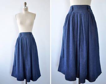 DVF Denim Skirt S/M • Vintage Denim Skirt • High Waisted Skirt • Full Skirt with Pockets • Flare Skirt • Diane Von Furstenberg | SK798