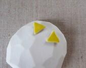 Yellow Glazed Triangle Stud Earrings since 2012 SALE