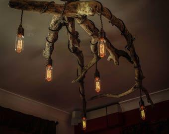 Driftwood Chandelier,Vinatge filament bulbs,Vintage filamnet pendant chandelier, Driftwood six light Fitting, Drift Wood Lighting
