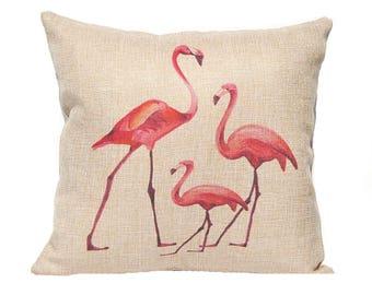 Watercolor Flamingo Pillow Cover - Tropical Decor - Beach Decor - Faux Burlap Pillow Cover with Zipper - 16 x 16 - Pink Pillow