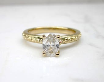 Classic Diamond Solitaire .58 Oval with Decorative 14k Solid Yellow Gold Band, Size 7