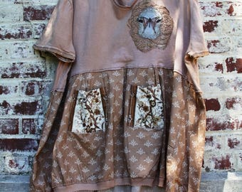 2X size /The Ship of the World Tunic with pockets /Dress/One of a kind/Shabby chic/Country living/Cottage Chic #19