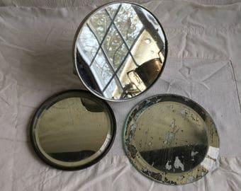 Vintage round mirrors   Beveled mirrors  shaving mirror  altered art supply