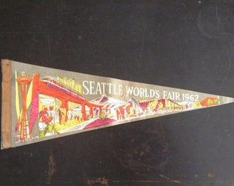 SALE Vintage Seattle Worlds Fair Pennant
