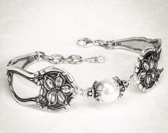"Antique Spoon Bracelet, Spoon Jewelry, ""Orange Blossom"" 1910, Customizable Silverware Jewelry"