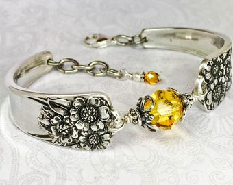Sunflower Spoon Bracelet, Yellow Swarovski Crystal, Spoon Jewelry - 'April' 1950