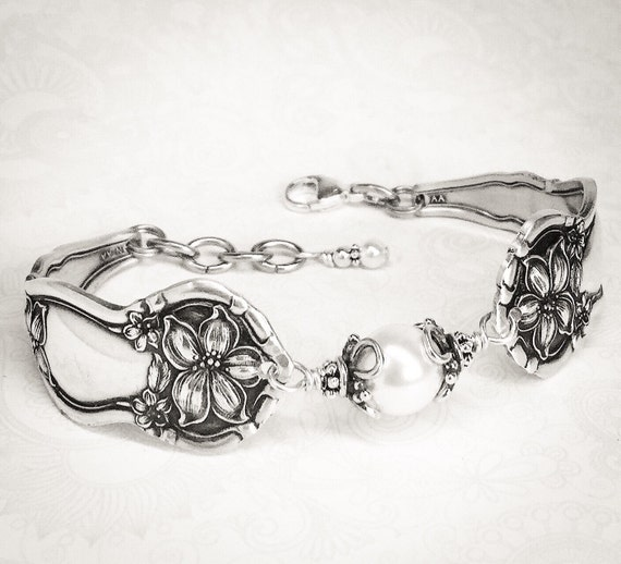 Antique Spoon Bracelet, Customizable Silverware Jewelry, 'Orange Blossom' 1910