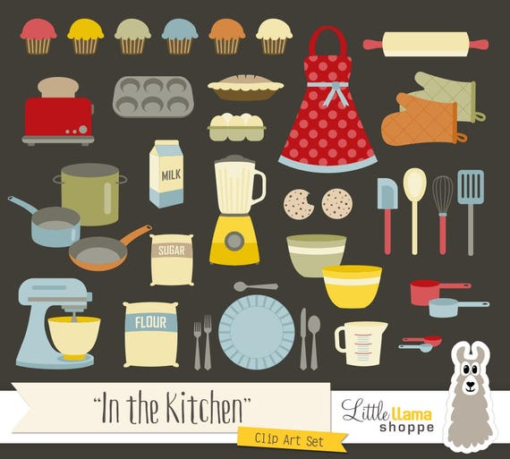 Kitchen Set Instan: Kitchen Clipart, Baking And Cooking Clip Art Set, Instant