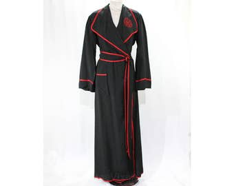 1940s Hollywood Robe - Estate of Starlet Gladys Glad Ziegfeld Follies Girl - 40s Black Silk & Red Satin Twill with Monogram - Bust 35 -48524