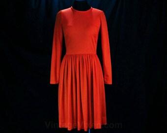 Size 8 Orange Dress - Mod 1960s Long Sleeve Jersey Knit Dress - Simplistic Futuristic - Fitted Bodice & Full Skirt - Waist 26.5 - 48616
