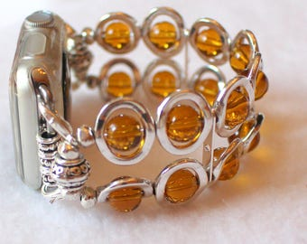 Watch Band for Apple Watch, Silver Ovals and Amber Beads Band for Apple Watch