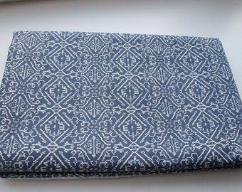 Blue canvas cotton geometric pattern fabric by meter