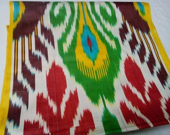 Uzbek traditional woven multicolor cotton ikat fabric by meter