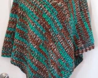 Poncho - Green, Brown and Tan
