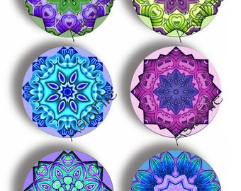 Digital Mandalas Blues Greens Purples 1.5 Inch Circles Printables for Scrapbook Decoupage Collage Jewelry Making Paper Crafts CS 515