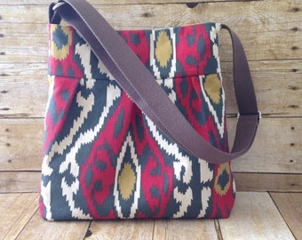 Crossbody Bag / Pleated Purse with adjustable Strap - Red and Grey Ikat Tribal Fabric with free keyfob