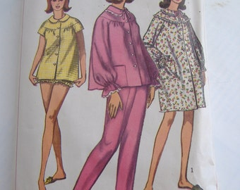 Simplicity Pattern 6278, Misses' Pajamas or Nightgown, Size 14, Bust 34, 1965