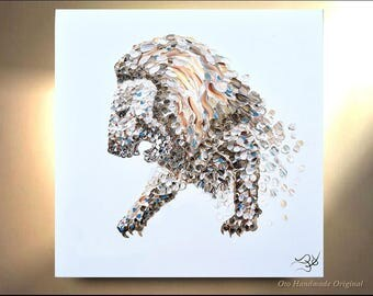 Lion Painting on Canvas Decor Art Oil Original Artworks African Wild Big Cat animal Heavily textured by OTO