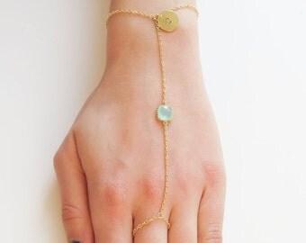 10% OFF CYBER WEEK Personalized Ring Bracelets   Birthstone & Initial Slave Bracelet   Birthstone Ring Bracelet   Initial Slave Bracelet