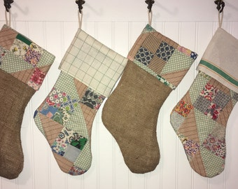 Family Christmas Stocking Set of 4 Rustic Primitive Vintage Quilt Burlap Linen Farmhouse Country Christmas One of a Kind