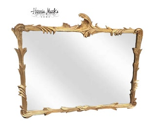 Huge Gold Mirror Rococo Hollywood Regency Glam Mirror Vintage French Cottage