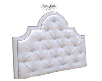 Upholstered Headboard Tufted Crystal Rhinestone Button Nail Head King Queen Full Twin PICK YOUR FABRIC Custom Made To Order