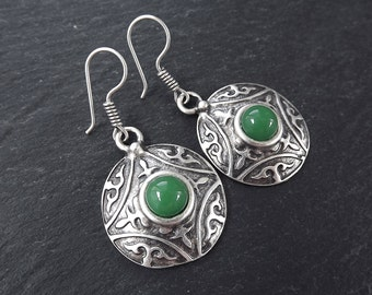 Tribal Dome Ethnic Fleur Silver Earrings with Green Glass Stone - Authentic Turkish Style