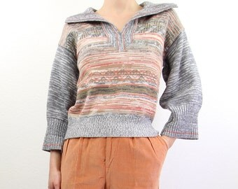 VINTAGE 1970s Space Dyed Sweater Grey Peach Knit Top
