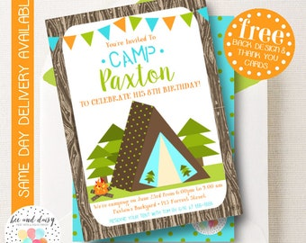 Camping Invitation, Camping Birthday Invitation, Camping Birthday Party, Camping Party Invitation, Sleep Over Party, BeeAndDaisy
