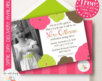 Garden Party Flower Invitation, Flower Birthday Invitation, Flower Party, Girl First Birthday, Girl Birthday, Flower Invite