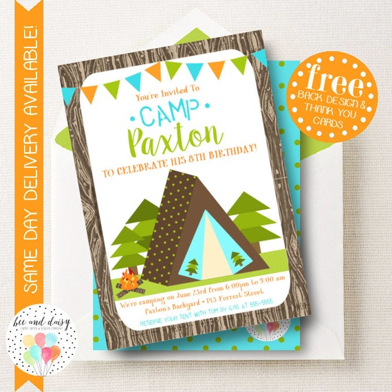 camping invitation for boys birthday party printable tent party
