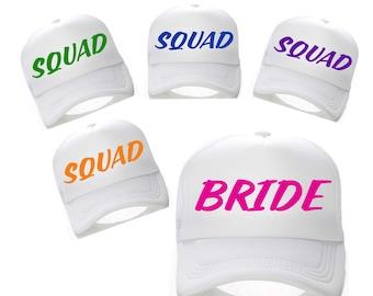 set of 5 SQUAD hats. Bachelorette Party baseball caps . large Flat lid baseball caps - Bridesmaid , maid of honor, matron of honor, bride