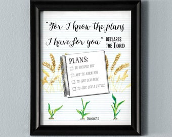For I Know the Plans I Have For You Printable Wall Art Bible Verse Scripture Poster