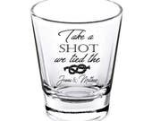 Wedding Shot Glasses - Wedding Favors - Personalized Shot Glasses - Take a Shot we Tied the Knot - Bachelorette Party - Custom Shot Glasses