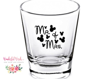 Wedding Shot Glasses - Wedding Favors - Personalized Shot Glasses - Happily Ever After - Bachelorette Party - Custom Shot Glasses