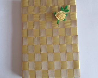 A5 Ribbon covered Lined Notebook, Handmade, Gold, Taupe, Satin Ribbon, Gift, Felt, Flowers