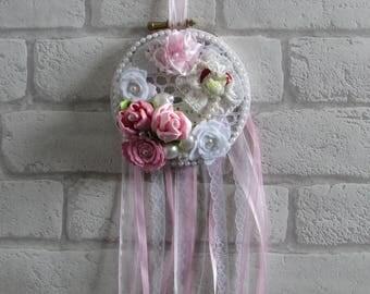 White Lace & Roses Dream Catcher, Shabby Chic, Vintage, Lace, Ribbon, Spiritual, Handmade, Window Decoration