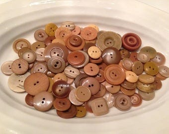 Two Hole Buttons - 100 assorted light brown 2 hole buttons
