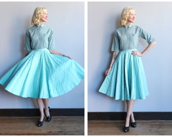 1950s Skirt // Miss Pat Quilted Skirt // vintage 50s circle skirt