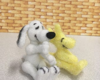 Ooak needle felted snoopy and woodstock