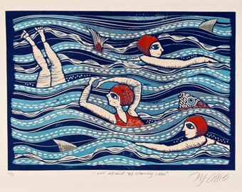linocut, Stormy Seas, ocean, beach, swimmers, blue, red, fun, sharks, waves, swimsuit, swimming, bathing, home interior, printmaking, summer
