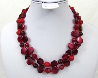 """Germany Red & Burgundy 2 Strand Necklace - 17"""" Glass and plastic beads - 1950s-60s"""