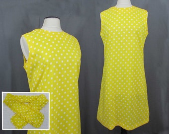 Bright Yellow polka dot shift by Pawtucket Sportswear - silky poly - ruffled collar or belt - 1960s - Med
